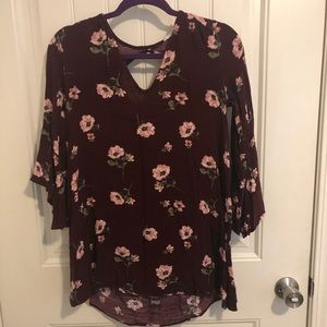 Tops - Burgundy 3/4 sleeve blouse